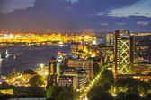 Buildings in the riverside of Elbe at the evening, Hamburg — Stock Photo