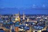 Hamburg church saint michael üzerine havadan görünümü — Stok fotoğraf