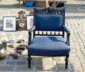 Antique blue armchair — Stock Photo