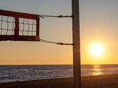 Volleyball net on the beach — Stock Photo