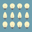 Light bulbs and Bulb icon set vector — Stock Vector