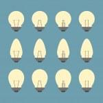 Light bulbs and Bulb icon set vector — Stock Vector