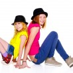 Two Smiling Teenage Girls Isolated on White Background — Stock Photo #44335451