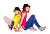 Two Smiling Teenage Girls Isolated on White Background — Stock Photo