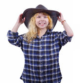 Girl in the hat for a cowboy isolated on white background — ストック写真