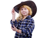 Girl in the hat for a cowboy isolated on white background — Zdjęcie stockowe