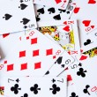 Large collection of used playing cards, closeup — Stock Photo #36358343