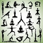 Yoga set of people — Stock Vector