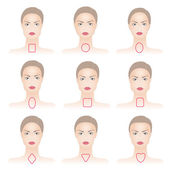 Shapes of woman face with lines — Stock Vector