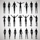 Illuminated people silhouettes — Stock Vector