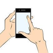 Smart phone in hand — Stock Vector