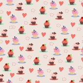Cupcake pattern — Stock Vector
