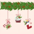 Stock Vector: Christmas decorations hanging