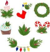 векторные иллюстрации рождественских украшений — Cтоковый вектор