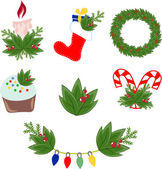 Vector illustration of Christmas decorations — Vettoriale Stock