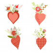Set of vector flower bouquets and hearts — Stock Vector