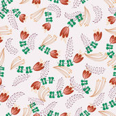 Retro pattern with pictures of flowers and leaves — Wektor stockowy