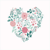 Floral Heart Card — Stock Vector
