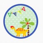 Baby card with cute dinosaur — Stock Vector