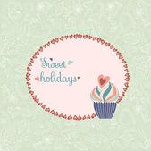 Retro card with cupcake — Stock Vector