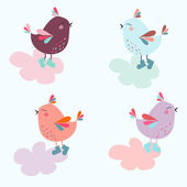 Cartoon birds vector illustration for children's — Stock Vector