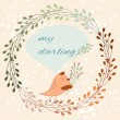 Cute card with a bird in vector. cartoon illustration for greetings with wild herbs — Stock Vector