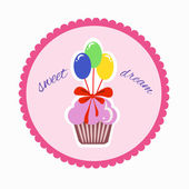Children sticker with a cute cupcake with balloons and ribbon. in pink colors — Stock Vector