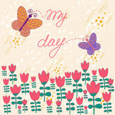 яркий фон в векторе. тюльпаны и бабочки в стиле ретро — Cтоковый вектор
