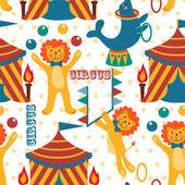 Padrão com os animais de circo bonito. — Vetorial Stock
