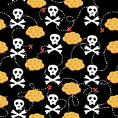 Seamless pattern with cartoon skulls pirate — Stockvector