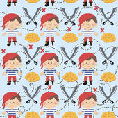 Seamless pattern cartoon pirates. — Stock Vector