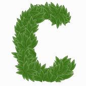 Letter C.  alphabet from leaves — Stock Vector