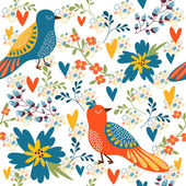Bright seamless pattern with birds and flowers — Cтоковый вектор