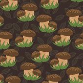 Retro mushroom autumn deer pattern — Stock Vector