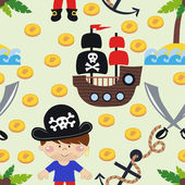 Seamless pattern cartoon pirates. vector illustration — Stock Vector