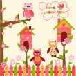 Seamless pattern with cute owls and colorful houses for birds. vector illustration — Stock Vector #47550575