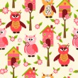 Seamless pattern with cute owls and colorful houses for birds. vector illustration — Stock Vector #47550577