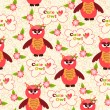 Seamless pattern with cute owls and colorful houses for birds. vector illustration — Stock Vector #47550615