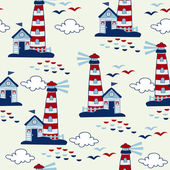 Seamless pattern with sea houses. vector — Stock Vector