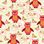 Seamless pattern with cute owls and colorful houses for birds. vector illustration — Stock Vector
