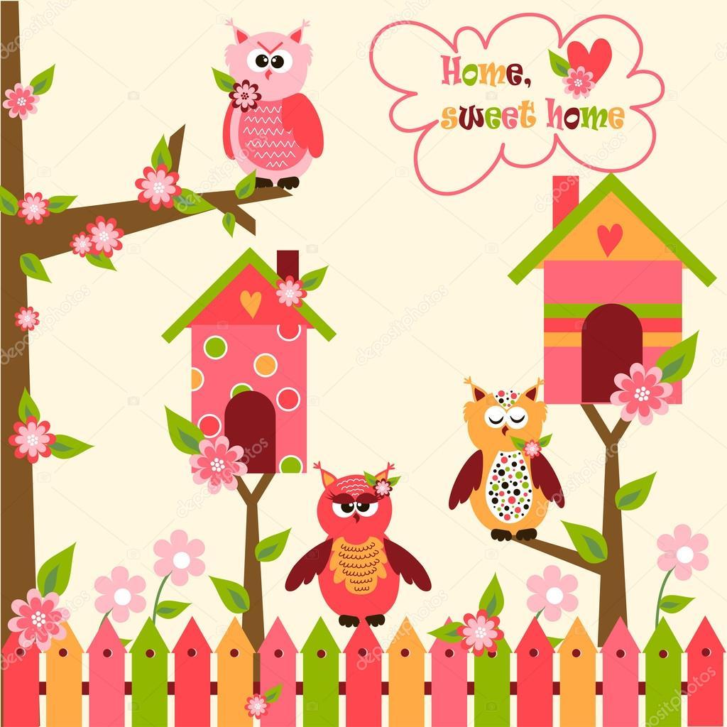Sin patr n con lindos b hos y coloridas casas para p jaros - Paginas para disenar casas ...