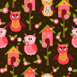 Seamless pattern with cute birds and colorful houses for birds. vector illustration — Stock Vector #47833397