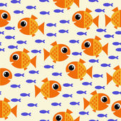 Marine seamless pattern with cartoon fish and algae. vector illustration — Stock Vector