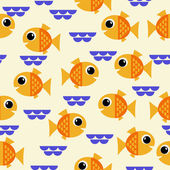 Marine seamless pattern with cartoon fish and algae. vector illustration — Vector de stock