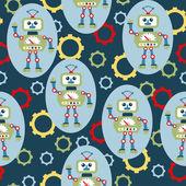 Seamless pattern with cartoon robots. vector illustration — Vettoriale Stock