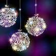 happy new year 2014 sparkling colorful ornament design — Stock Vector #35680893