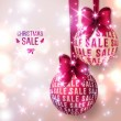 Christmas sale - Purple Christmas baubles on light background. — Stock Vector