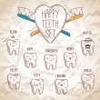 Happy teeth set — Stockvectorbeeld