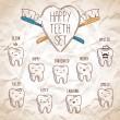 Happy teeth set — Stock Vector