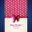 ストックベクタ: Vintage greeting card with Christmas balls and purple bow.